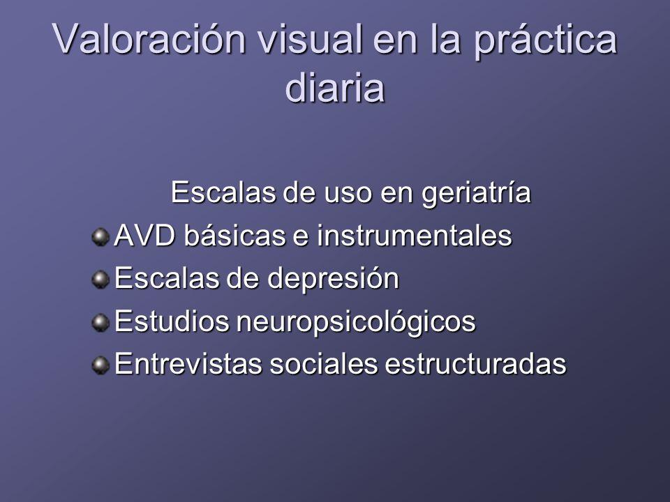 Valoración sensorial en la consulta de geriatría y AP Caídas Malnutrición Inmovilismo Deterioro cognitivo Depresión Aislamiento social