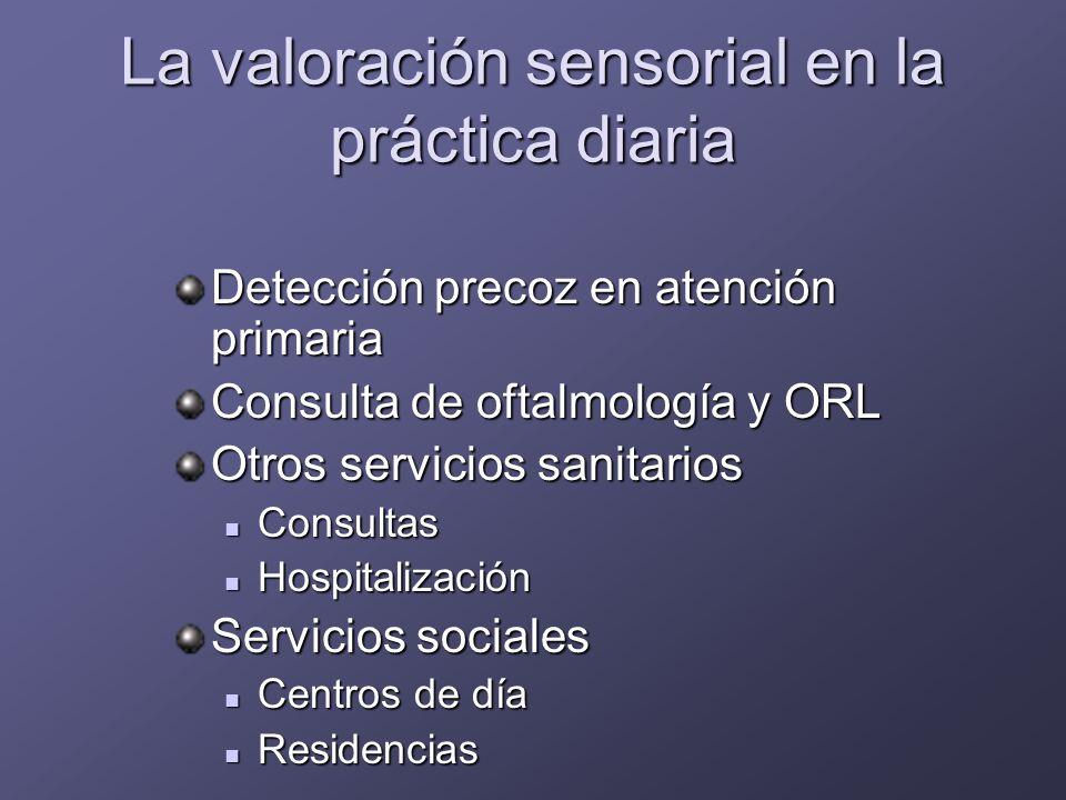 VALORACION SENSORIAL consulta de valoración geriátrica Anamnesis Exploración de la agudeza visual Anormal: <0,7 Anormal: <0,7 Campo visual (rejilla de Amsler) Presión intraocular Anormal: >20 Anormal: >20 Voz cuchicheada anormal