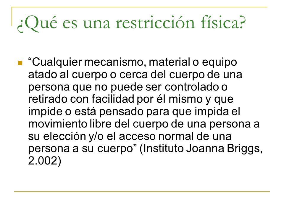 ¿Qué es una restricción física? Cualquier mecanismo, material o equipo atado al cuerpo o cerca del cuerpo de una persona que no puede ser controlado o
