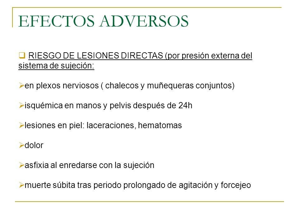 EFECTOS ADVERSOS RIESGO DE LESIONES DIRECTAS (por presión externa del sistema de sujeción: en plexos nerviosos ( chalecos y muñequeras conjuntos) isqu