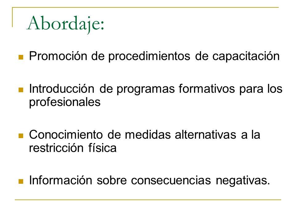 Promoción de procedimientos de capacitación Introducción de programas formativos para los profesionales Conocimiento de medidas alternativas a la restricción física Información sobre consecuencias negativas.