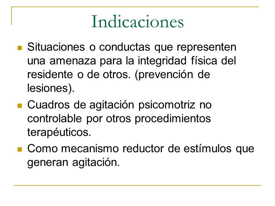Indicaciones Situaciones o conductas que representen una amenaza para la integridad física del residente o de otros. (prevención de lesiones). Cuadros