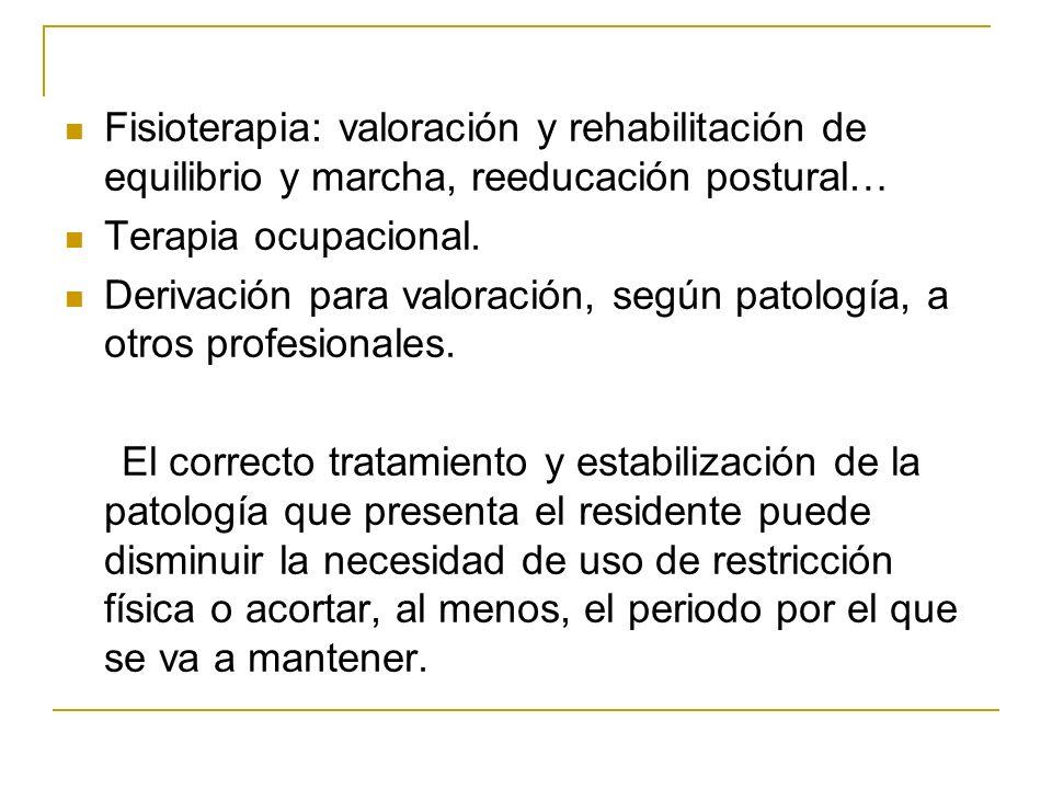 Fisioterapia: valoración y rehabilitación de equilibrio y marcha, reeducación postural… Terapia ocupacional. Derivación para valoración, según patolog