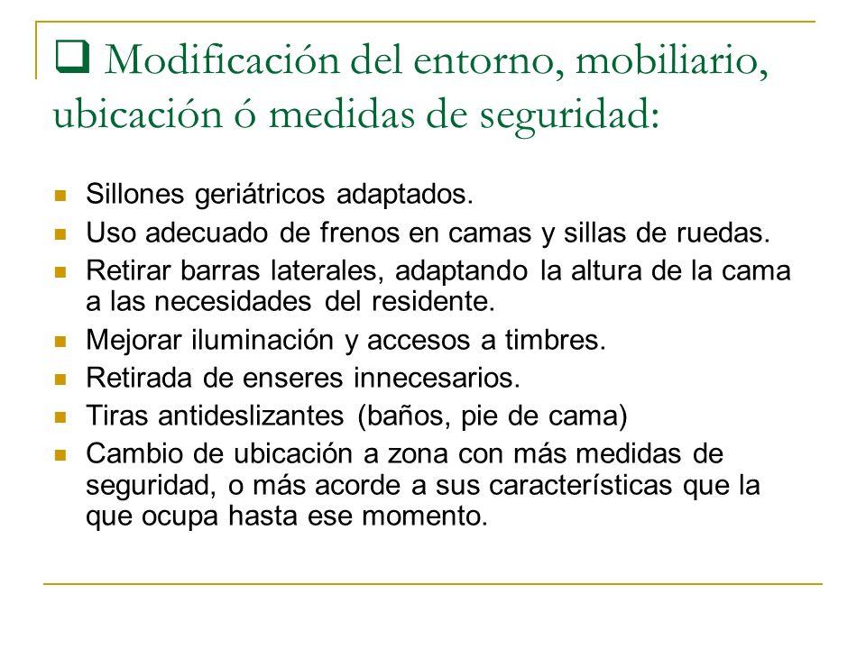 Modificación del entorno, mobiliario, ubicación ó medidas de seguridad: Sillones geriátricos adaptados. Uso adecuado de frenos en camas y sillas de ru