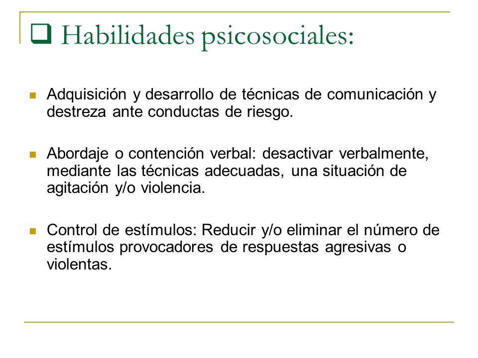Habilidades psicosociales: Adquisición y desarrollo de técnicas de comunicación y destreza ante conductas de riesgo. Abordaje o contención verbal: des