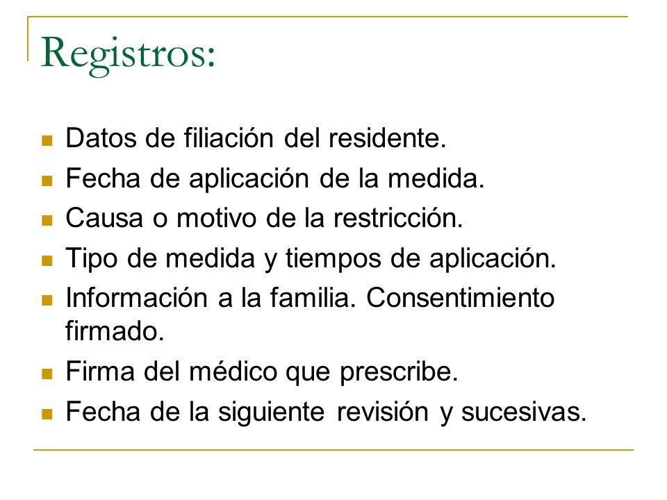 Registros: Datos de filiación del residente. Fecha de aplicación de la medida. Causa o motivo de la restricción. Tipo de medida y tiempos de aplicació