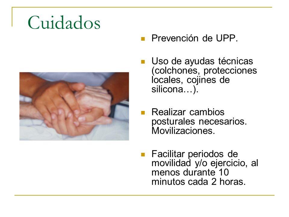 Cuidados Prevención de UPP. Uso de ayudas técnicas (colchones, protecciones locales, cojines de silicona…). Realizar cambios posturales necesarios. Mo