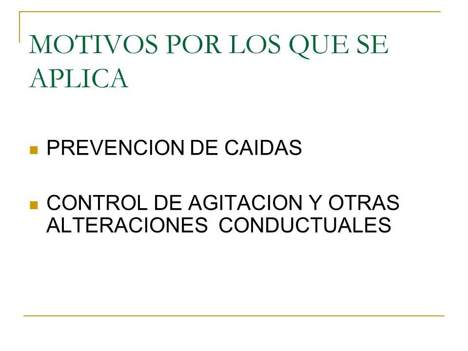 MOTIVOS POR LOS QUE SE APLICA PREVENCION DE CAIDAS CONTROL DE AGITACION Y OTRAS ALTERACIONES CONDUCTUALES