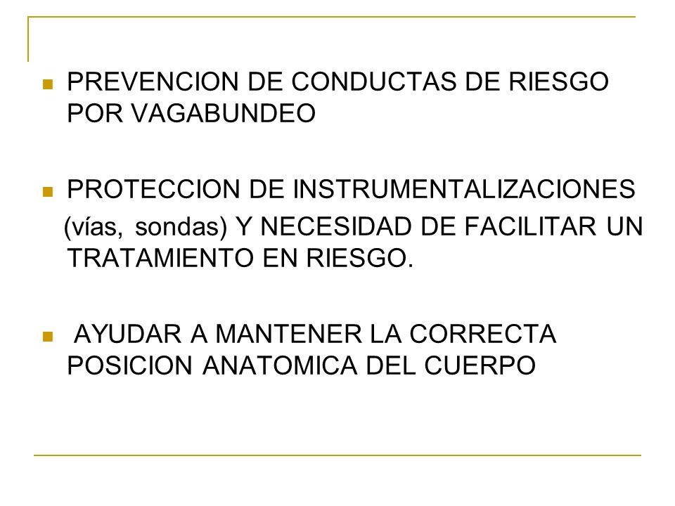PREVENCION DE CONDUCTAS DE RIESGO POR VAGABUNDEO PROTECCION DE INSTRUMENTALIZACIONES (vías, sondas) Y NECESIDAD DE FACILITAR UN TRATAMIENTO EN RIESGO.