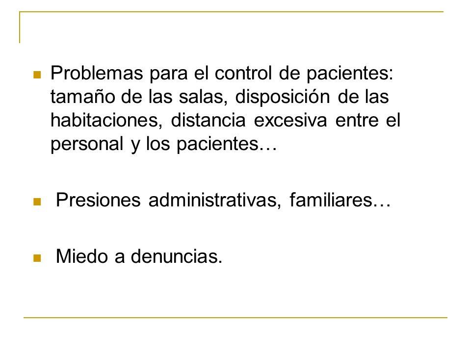 Problemas para el control de pacientes: tamaño de las salas, disposición de las habitaciones, distancia excesiva entre el personal y los pacientes… Pr