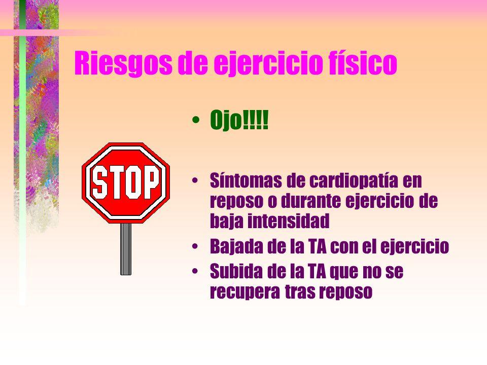 Riesgos de ejercicio físico Ojo!!!! Síntomas de cardiopatía en reposo o durante ejercicio de baja intensidad Bajada de la TA con el ejercicio Subida d