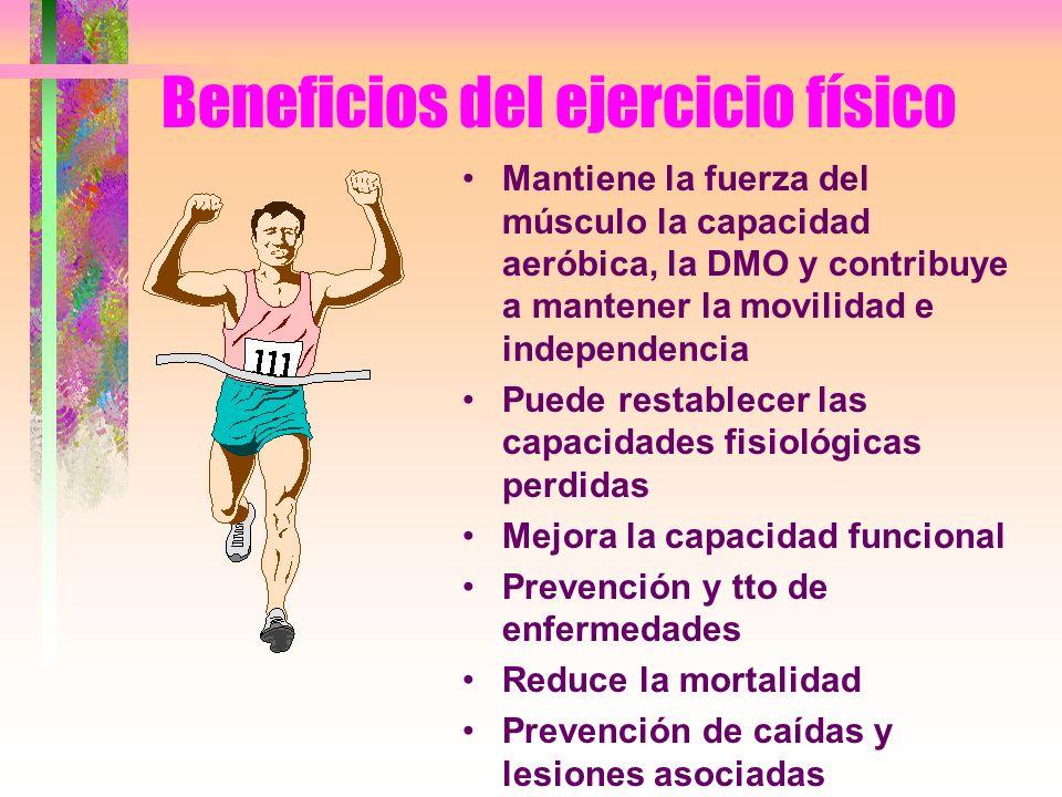 Beneficios del ejercicio físico Mantiene la fuerza del músculo la capacidad aeróbica, la DMO y contribuye a mantener la movilidad e independencia Pued