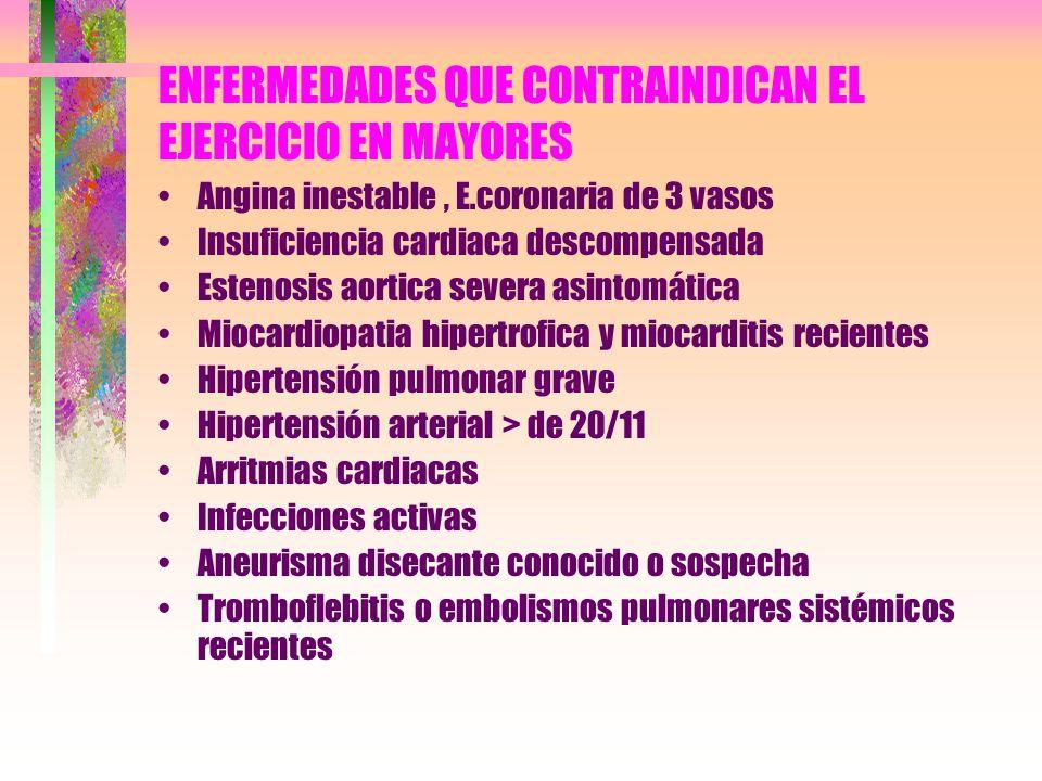 ENFERMEDADES QUE CONTRAINDICAN EL EJERCICIO EN MAYORES Angina inestable, E.coronaria de 3 vasos Insuficiencia cardiaca descompensada Estenosis aortica