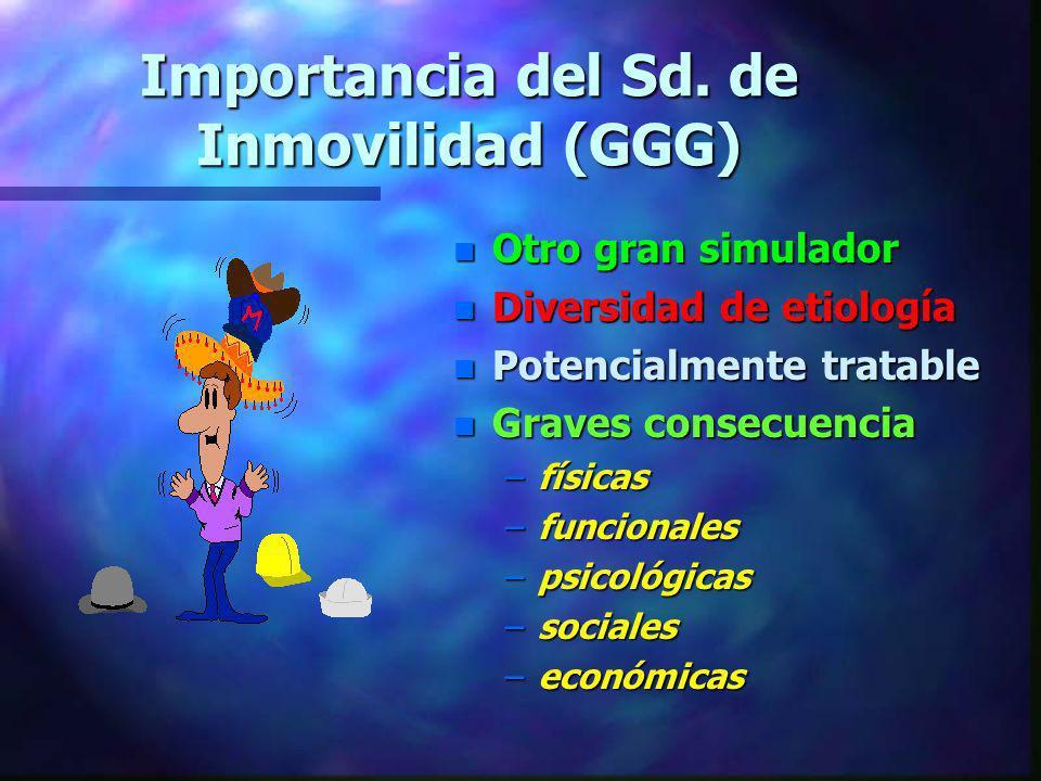 Importancia del Sd. de Inmovilidad (GGG) n Otro gran simulador n Diversidad de etiología n Potencialmente tratable n Graves consecuencia –físicas –fun