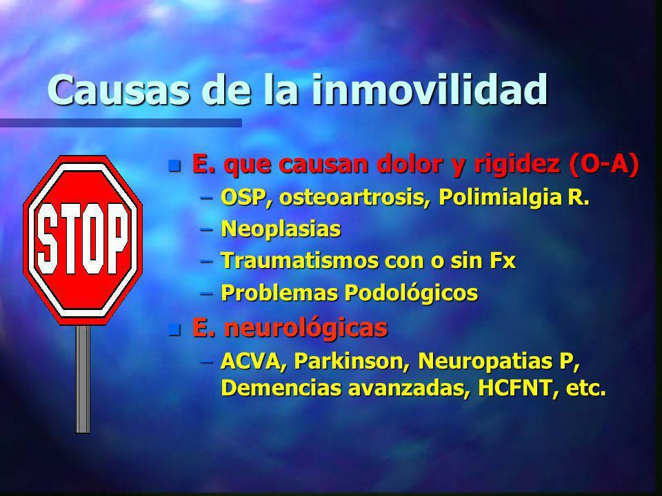 Causas de la inmovilidad n E. que causan dolor y rigidez (O-A) –OSP, osteoartrosis, Polimialgia R. –Neoplasias –Traumatismos con o sin Fx –Problemas P