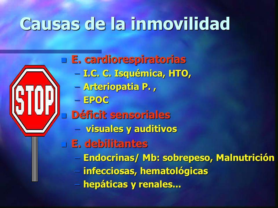 Causas de la inmovilidad n E. cardiorespiratorias –I.C. C. Isquémica, HTO, –Arteriopatia P., –EPOC n Déficit sensoriales – visuales y auditivos n E. d
