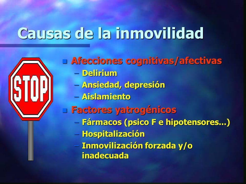 Causas de la inmovilidad n Afecciones cognitivas/afectivas –Delirium –Ansiedad, depresión –Aislamiento n Factores yatrogénicos –Fármacos (psico F e hi