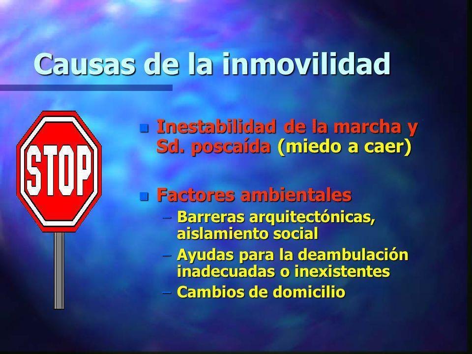 Causas de la inmovilidad n Inestabilidad de la marcha y Sd. poscaída (miedo a caer) n Factores ambientales –Barreras arquitectónicas, aislamiento soci
