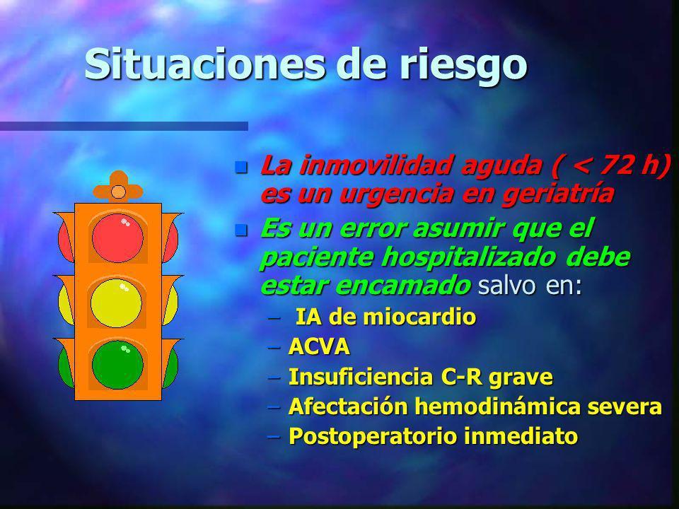 Situaciones de riesgo n La inmovilidad aguda ( < 72 h) es un urgencia en geriatría n Es un error asumir que el paciente hospitalizado debe estar encam