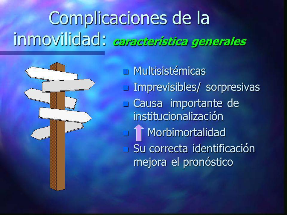 Complicaciones de la inmovilidad: característica generales n Multisistémicas n Imprevisibles/ sorpresivas n Causa importante de institucionalización n