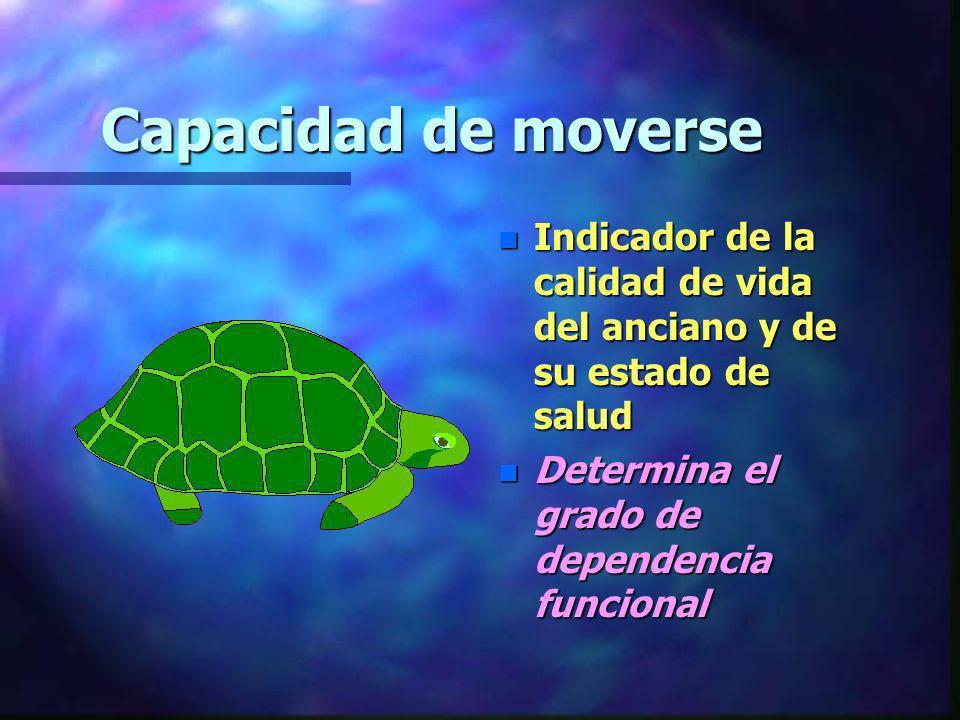 Movilidad: capacidad de desenvolverse en el entorno sinónimo de autonomía n Definida por tres funciones básicas: –Caminar –Subir escaleras –Transferencias: traslado cama- sillón- bipedestación