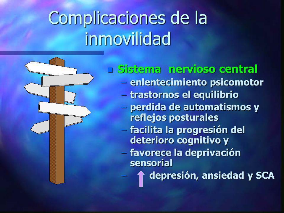 Complicaciones de la inmovilidad n Sistema nervioso central –enlentecimiento psicomotor –trastornos el equilibrio –perdida de automatismos y reflejos