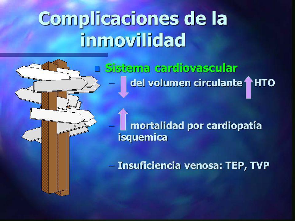 Complicaciones de la inmovilidad n Sistema cardiovascular – del volumen circulante HTO – mortalidad por cardiopatía isquemica –Insuficiencia venosa: T