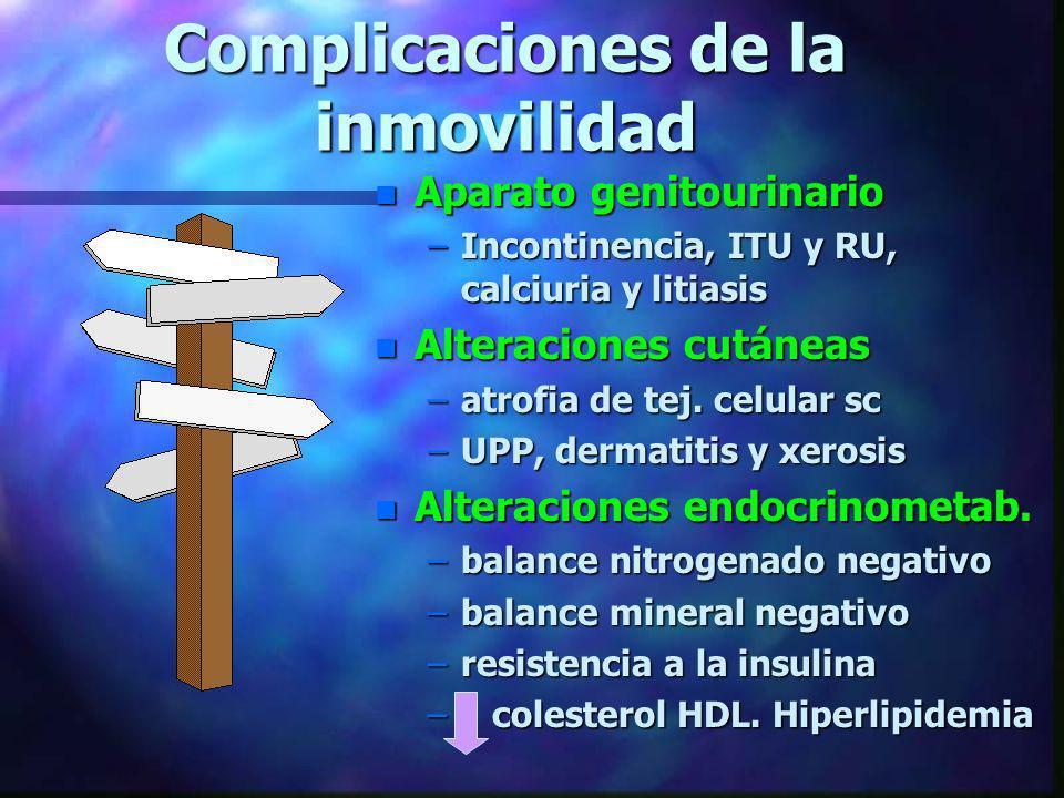Complicaciones de la inmovilidad n Aparato genitourinario –Incontinencia, ITU y RU, calciuria y litiasis n Alteraciones cutáneas –atrofia de tej. celu