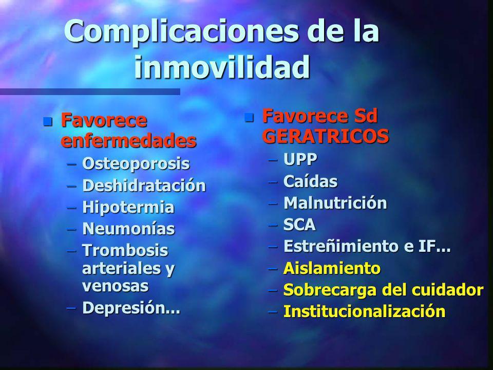 Complicaciones de la inmovilidad n Favorece enfermedades –Osteoporosis –Deshidratación –Hipotermia –Neumonías –Trombosis arteriales y venosas –Depresi