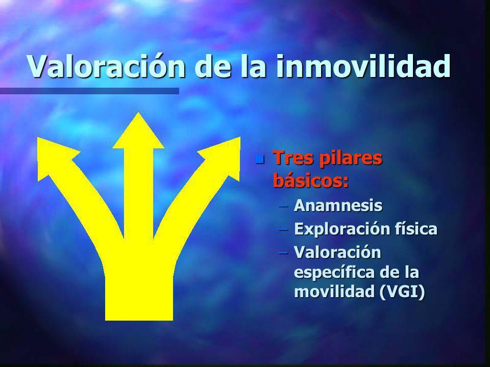 Valoración de la inmovilidad n Tres pilares básicos: –Anamnesis –Exploración física –Valoración específica de la movilidad (VGI)
