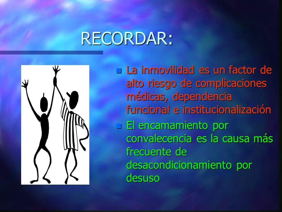 RECORDAR: n La inmovilidad es un factor de alto riesgo de complicaciones médicas, dependencia funcional e institucionalización n El encamamiento por c