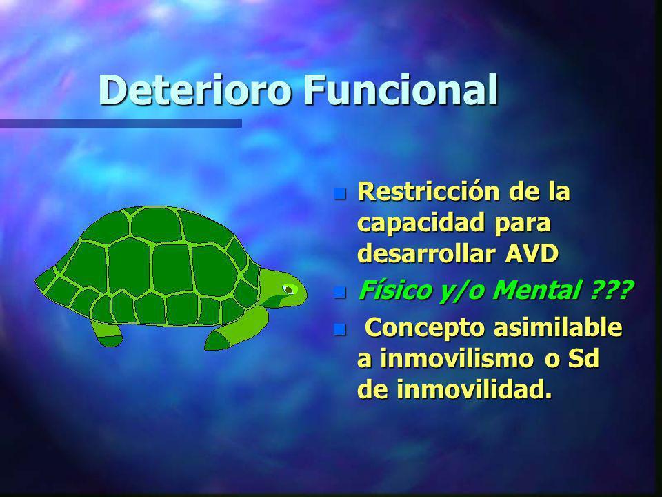 Deterioro Funcional n Restricción de la capacidad para desarrollar AVD n Físico y/o Mental ??? n Concepto asimilable a inmovilismo o Sd de inmovilidad
