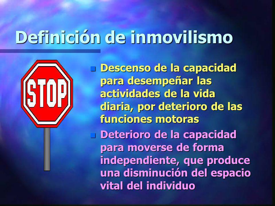 Definición de inmovilismo n Descenso de la capacidad para desempeñar las actividades de la vida diaria, por deterioro de las funciones motoras n Deter