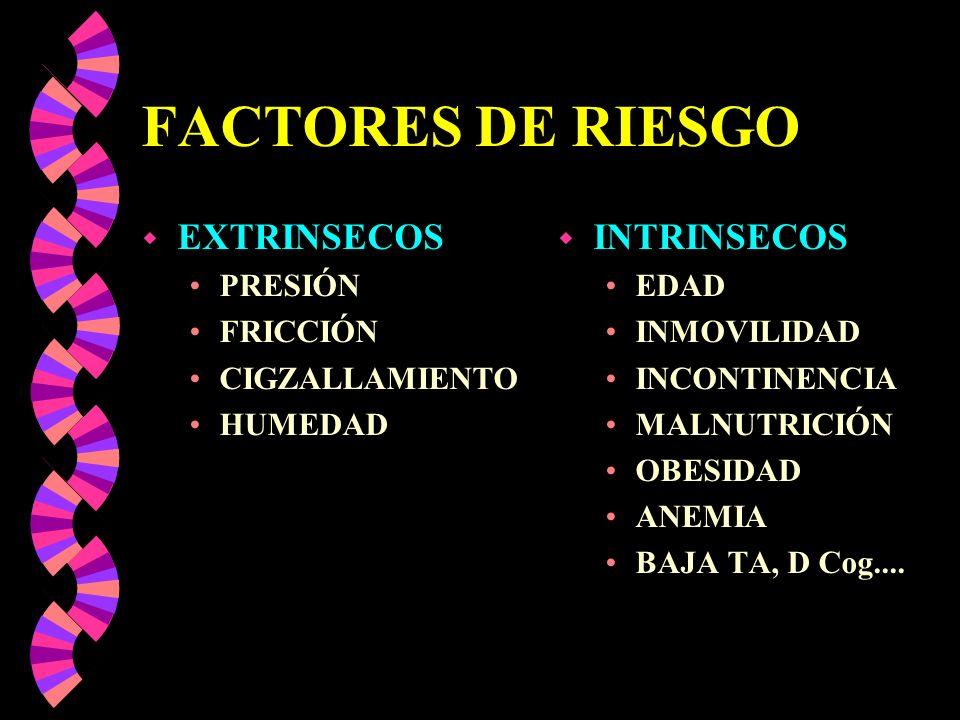 FACTORES DE RIESGO w EXTRINSECOS PRESIÓN FRICCIÓN CIGZALLAMIENTO HUMEDAD w INTRINSECOS EDAD INMOVILIDAD INCONTINENCIA MALNUTRICIÓN OBESIDAD ANEMIA BAJ