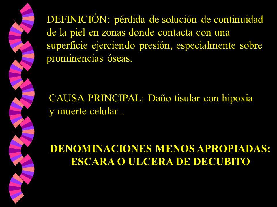 DEFINICIÓN: pérdida de solución de continuidad de la piel en zonas donde contacta con una superficie ejerciendo presión, especialmente sobre prominenc