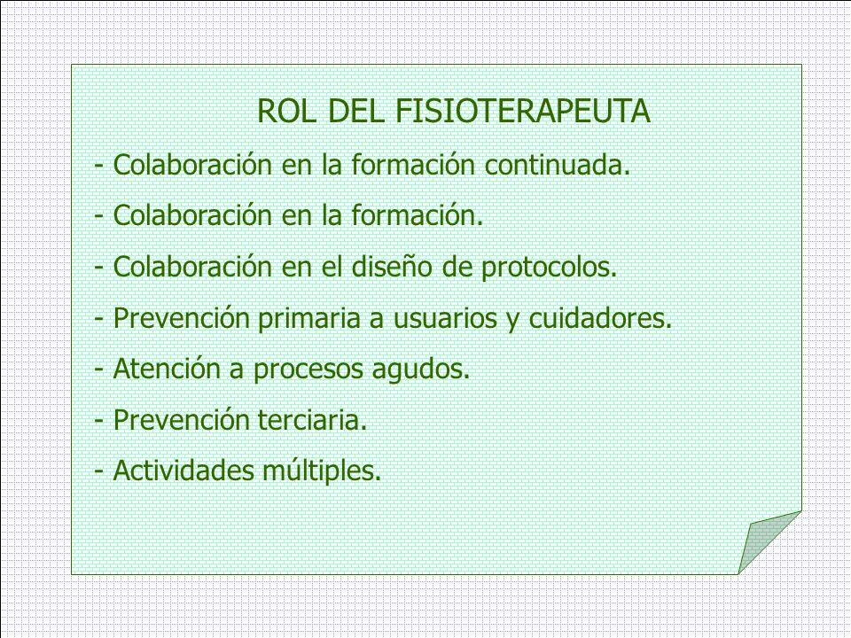 ROL DEL FISIOTERAPEUTA - Colaboración en la formación continuada. - Colaboración en la formación. - Colaboración en el diseño de protocolos. - Prevenc