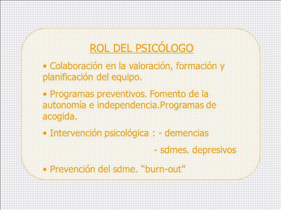 ROL DEL PSICÓLOGO Colaboración en la valoración, formación y planificación del equipo. Programas preventivos. Fomento de la autonomía e independencia.