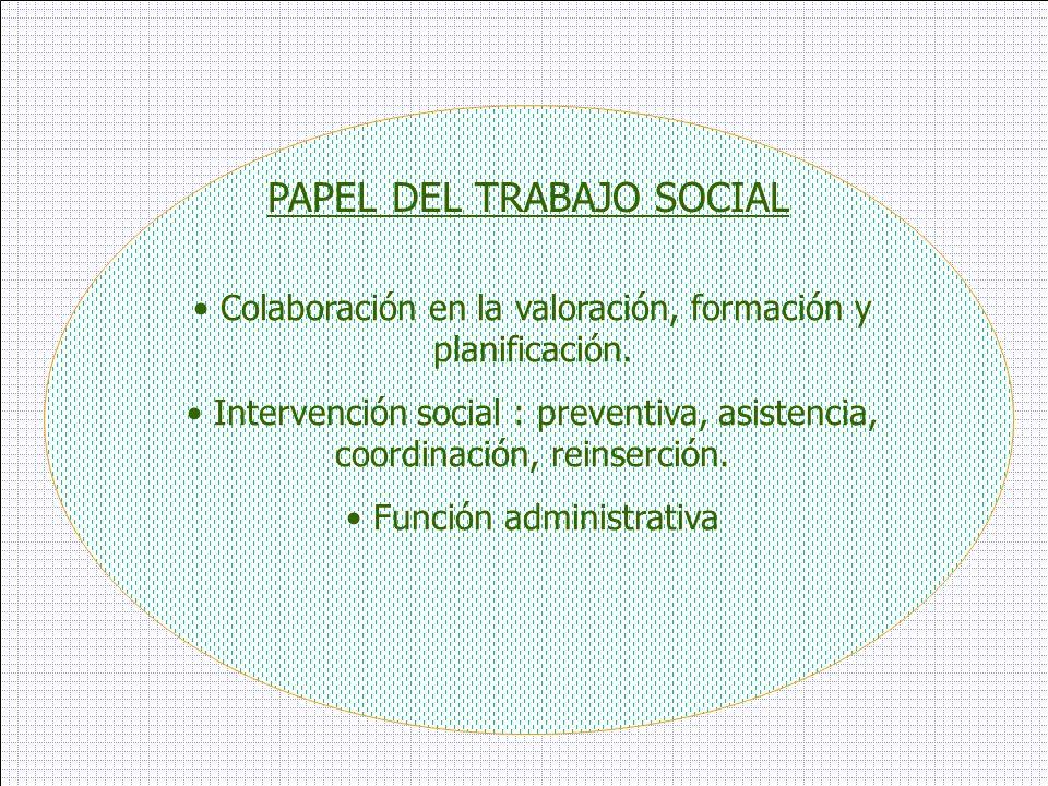 PAPEL DEL TRABAJO SOCIAL Colaboración en la valoración, formación y planificación. Intervención social : preventiva, asistencia, coordinación, reinser