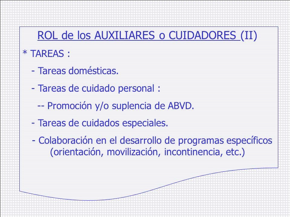 ROL de los AUXILIARES o CUIDADORES (II) * TAREAS : - Tareas domésticas. - Tareas de cuidado personal : -- Promoción y/o suplencia de ABVD. - Tareas de