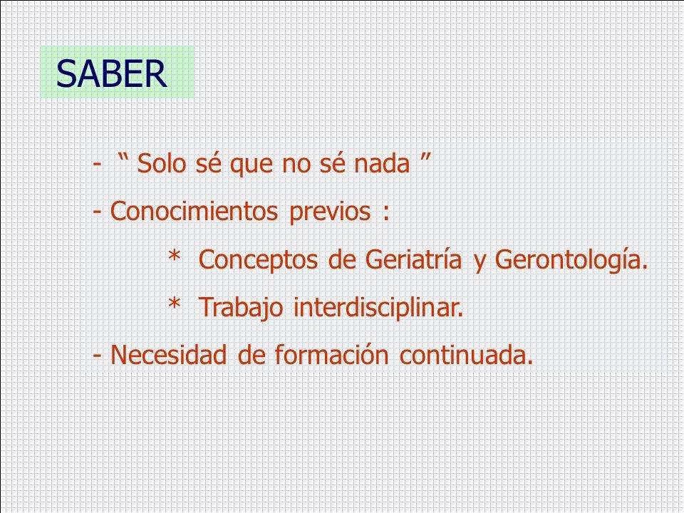 SABER - Solo sé que no sé nada - Conocimientos previos : * Conceptos de Geriatría y Gerontología. * Trabajo interdisciplinar. - Necesidad de formación