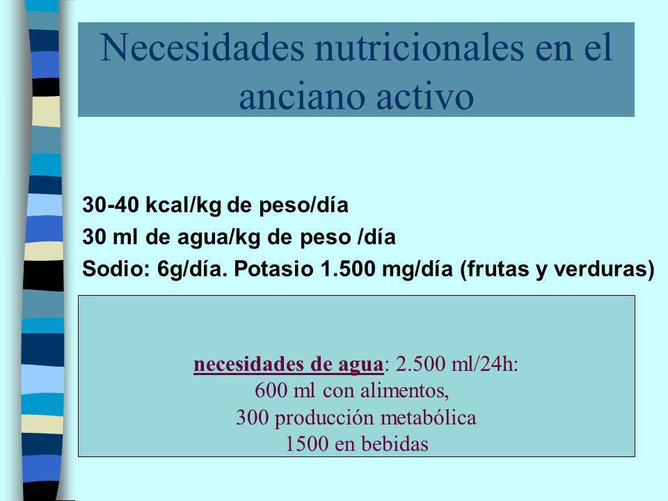 Necesidades nutricionales en el anciano activo 30-40 kcal/kg de peso/día 30 ml de agua/kg de peso /día Sodio: 6g/día.