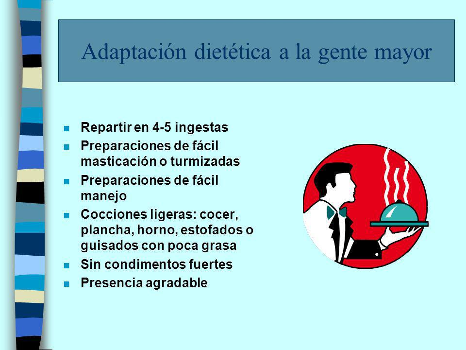 Recomendaciones n Adaptar el aporte calórico a la actividad y la presencia de enfermedades n Mantener, sin sobrepasar el aporte proteico n Mantener un