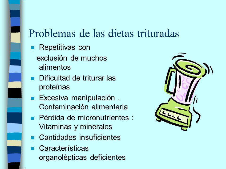 n Repetitivas con exclusión de muchos alimentos n Dificultad de triturar las proteínas n Excesiva manipulación.