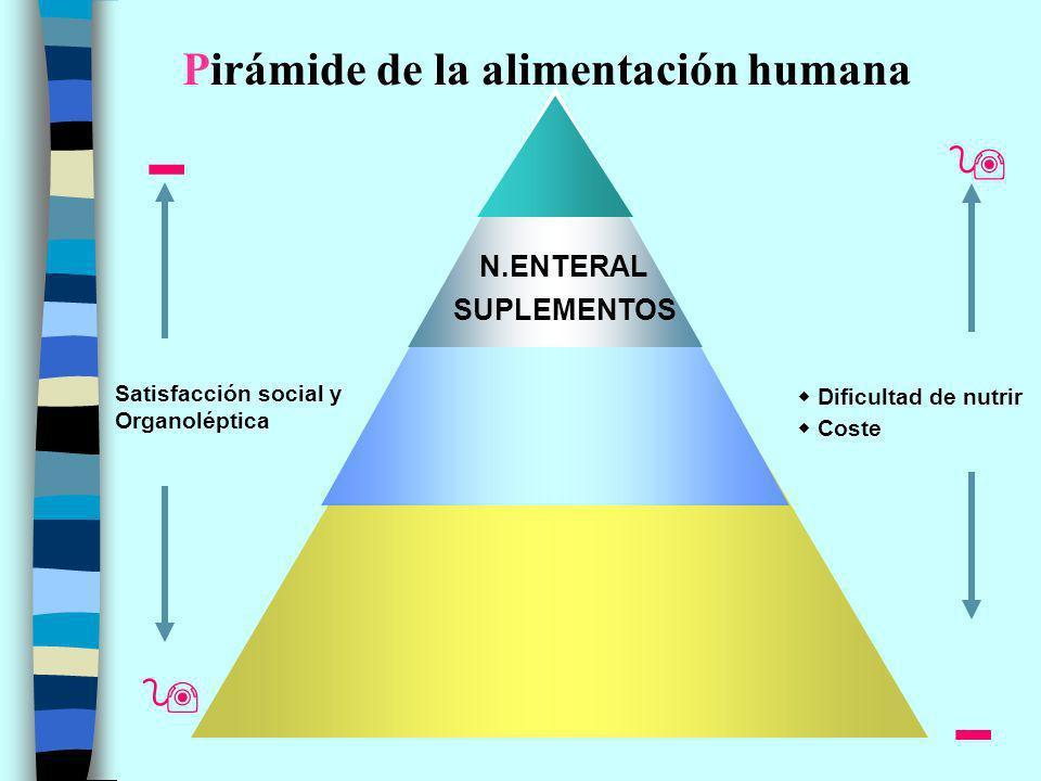 Satisfacción social y Organoléptica Pirámide de la alimentación humana Coste Dificultad de nutrir N.ENTERAL SUPLEMENTOS