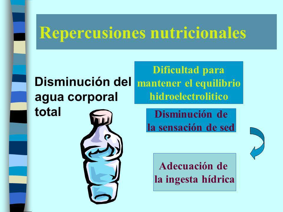 Repercusiones nutricionales Disminución del agua corporal total Dificultad para mantener el equilibrio hidroelectrolitico Disminución de la sensación de sed Adecuación de la ingesta hídrica