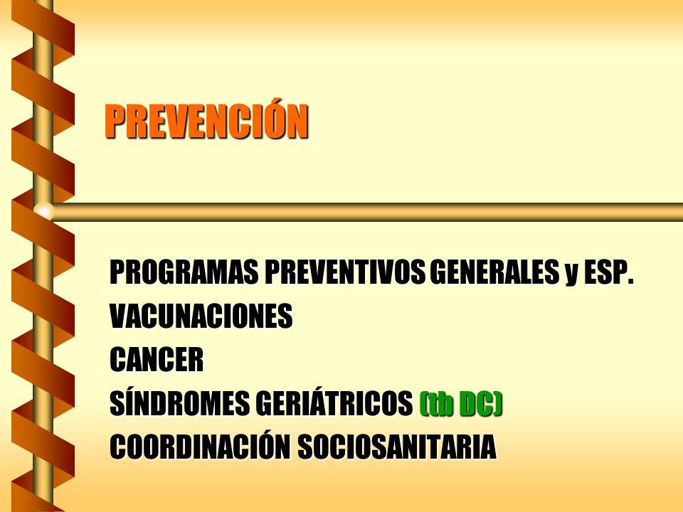 PREVENCIÓN PROGRAMAS PREVENTIVOS GENERALES y ESP. VACUNACIONESCANCER SÍNDROMES GERIÁTRICOS (tb DC) COORDINACIÓN SOCIOSANITARIA
