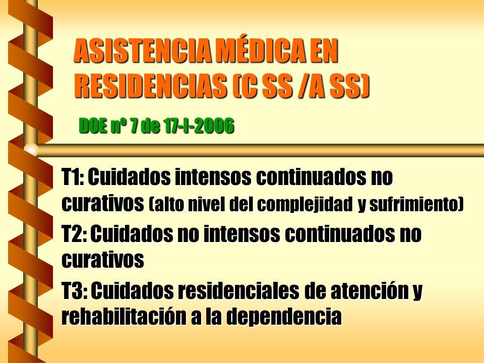 ASISTENCIA MÉDICA EN RESIDENCIAS (C SS /A SS) DOE nº 7 de 17-I-2006 T1: Cuidados intensos continuados no curativos (alto nivel del complejidad y sufri