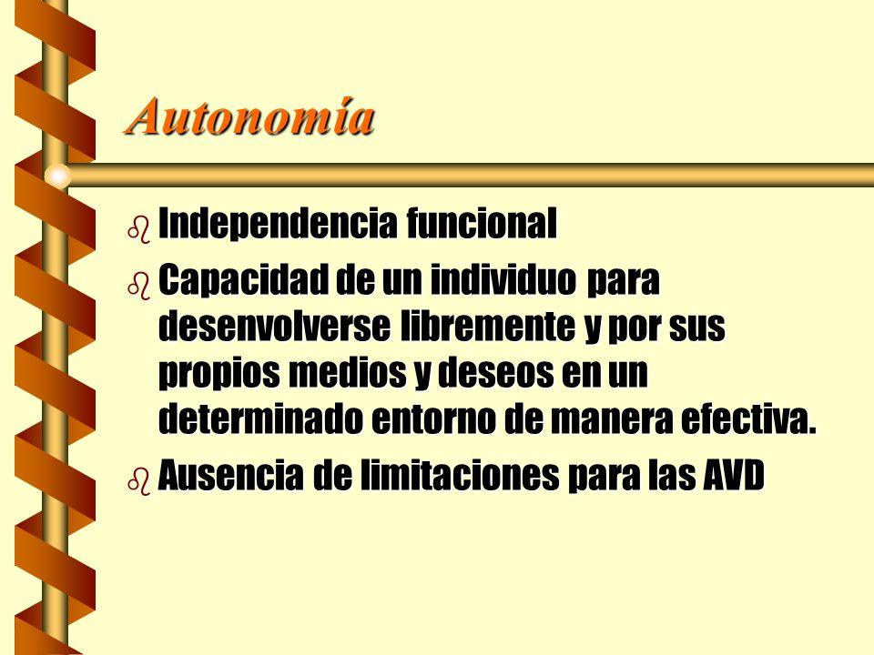 Autonomía b Independencia funcional b Capacidad de un individuo para desenvolverse libremente y por sus propios medios y deseos en un determinado ento