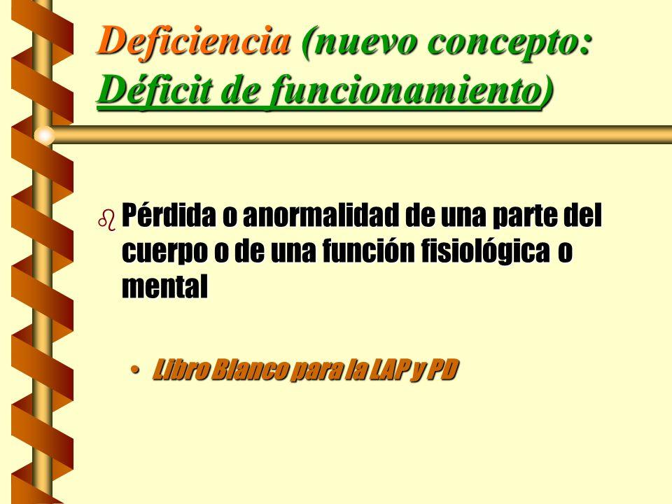 Deficiencia (nuevo concepto: Déficit de funcionamiento) b Pérdida o anormalidad de una parte del cuerpo o de una función fisiológica o mental Libro Bl