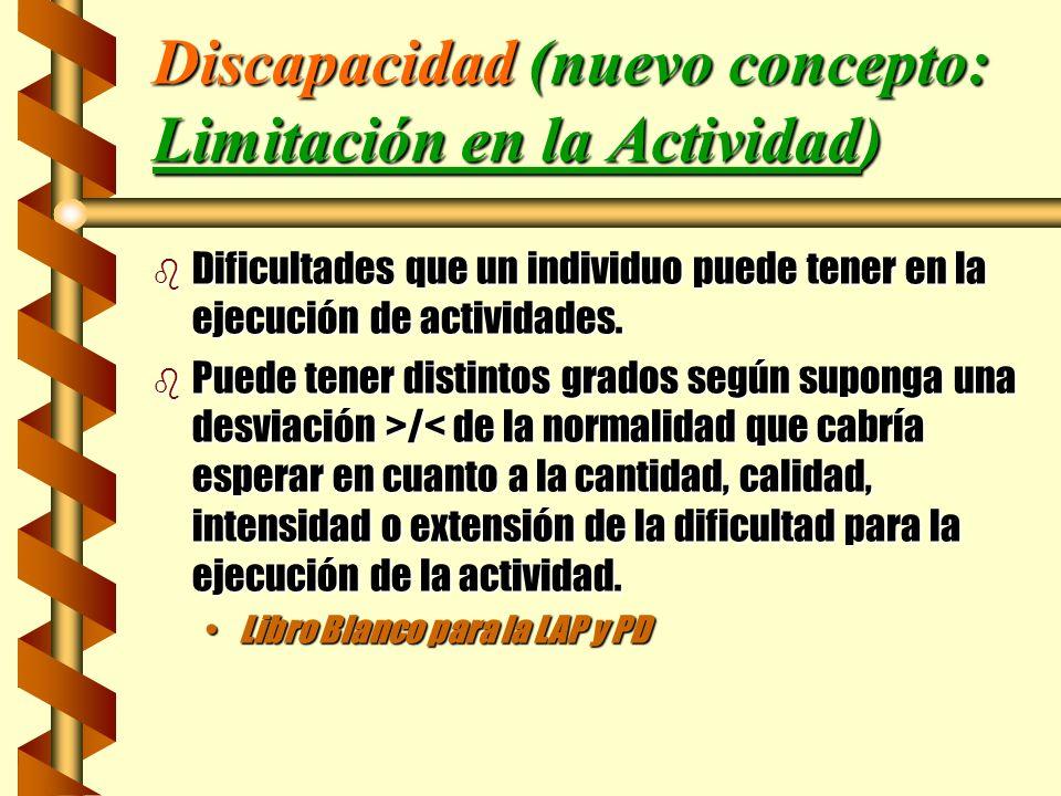 Discapacidad (nuevo concepto: Limitación en la Actividad) b Dificultades que un individuo puede tener en la ejecución de actividades. b Puede tener di